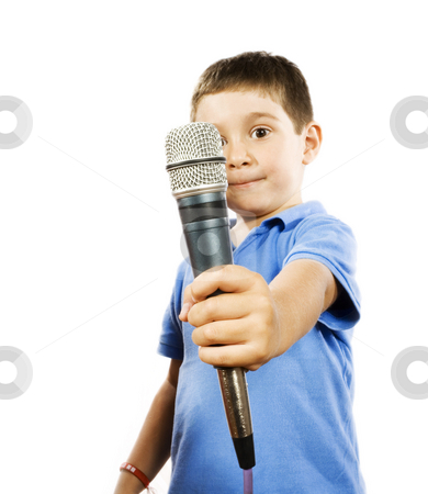 Karaoke kid stock photo, Stock photo of boy holding microphone, isolated on white by iodrakon