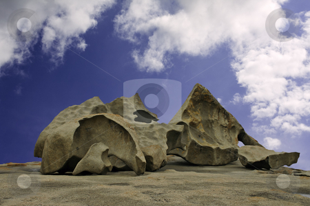 Several of the Remarkable Rocks on Kangaroo Island, Australia stock photo, Several of the Remarkable Rocks at Flinders Chase National Park on Kangaroo Island, South Australia, against a blue sky and white clouds by Stephen Goodwin
