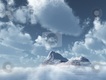 Mountains peak stock photo, Mountains peak  and cloudy sky - 3d illustration by J?