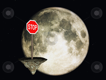 Stop stock photo, Stop sign in space and the moon - 3d illustration by J?