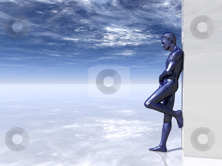 Blue stock photo, Blue human figure lean on white wall - 3d illustration by J?