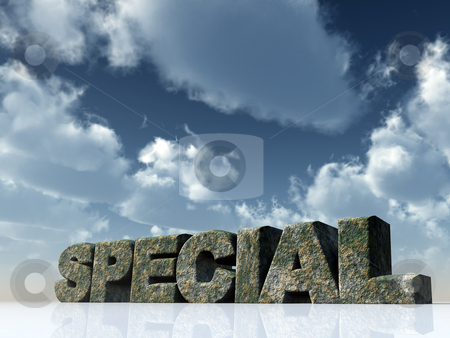 Special stock photo, The word special rock under blue cloudy sky - 3d illustration by J?