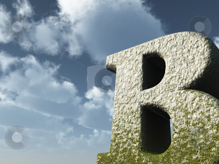 Big b stock photo, Letter b rock in front of blue sky - 3d illustration by J?