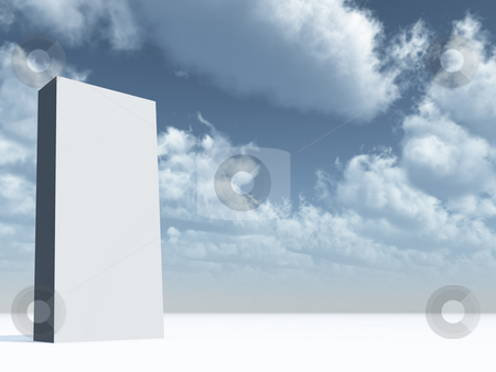 Column stock photo, Blank white column in front of blue sky - 3d illustration by J?