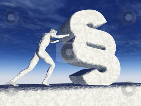 Law stock photo, Sculpture - man pushes paragraph symbol - 3d illustration by J?