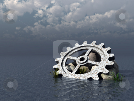 Gear stock photo, Gear wheel, stones and reed in water landscape - 3d illustration by J?