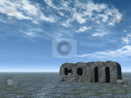 Com domain stock photo, The letters com in front of blue sky - 3d illustration by J?