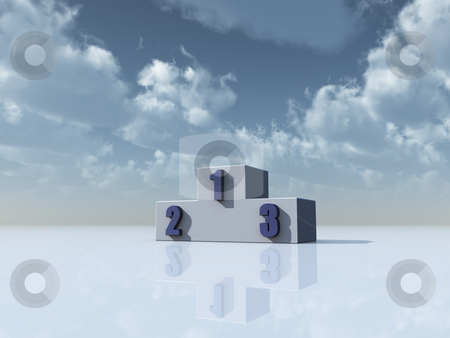 Win stock photo, Winner podium in front of blue sky - 3d illustration by J?