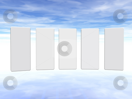 Presentation stock photo, Presentation background in five parts with fluffy sky - 3d illustration by J?