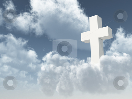 Christian cross stock photo, White christian cross on cloudy sky - 3d illustration by J?