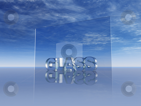 Glass stock photo, The word glass in glass and blue cloudy sky - 3d illustration by J?