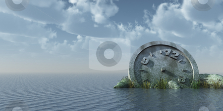 Think about time stock photo, Stone clock at the ocean - 3d illustration by J?