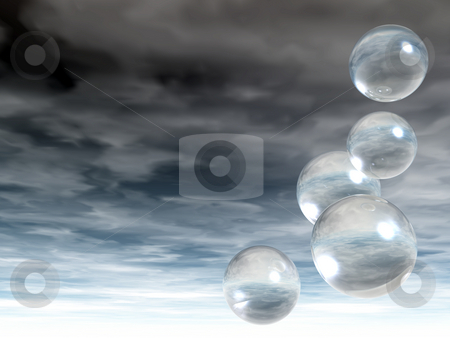 Fly stock photo, Flying bubbles in front of cloudy sky - 3d illustration by J?