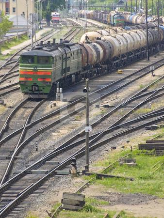 Railway stock photo, Goods train on the railway by Sergej Razvodovskij