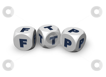 Ftp stock photo, Three dices with the letters ftp - 3d illustration by J?