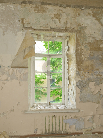 Old building window  stock photo, Old building ruin with scattered window by Sergej Razvodovskij