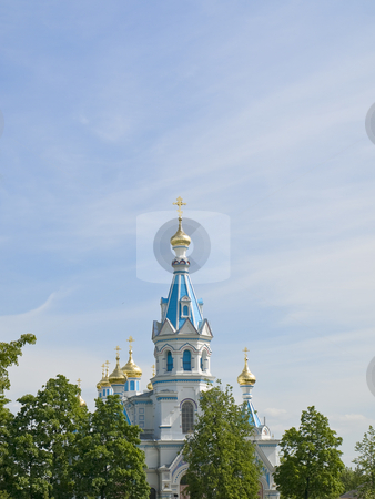 Oriental Church stock photo, Oriental Church against the blue cloudy sky by Sergej Razvodovskij