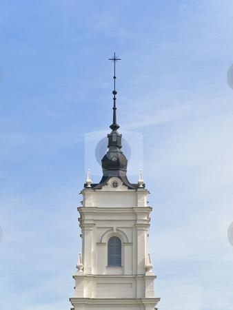 Church tower stock photo, Church tower against the blue cloudy sky by Sergej Razvodovskij