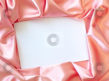 Textile border stock photo, Pink silk textile border round white paper by Sergej Razvodovskij