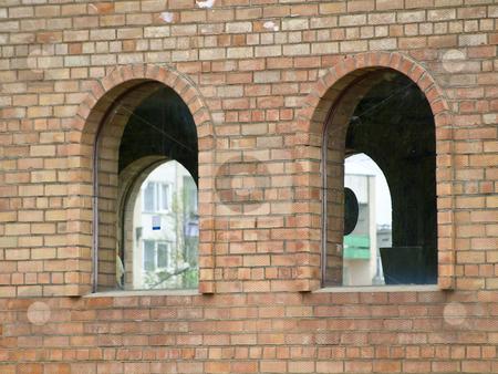 Bricks arcs stock photo, Two arcs at the bricks wall of the modern building by Sergej Razvodovskij