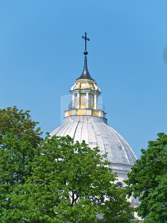 Dome stock photo, Cylindrical dome of church  against the blue sky by Sergej Razvodovskij