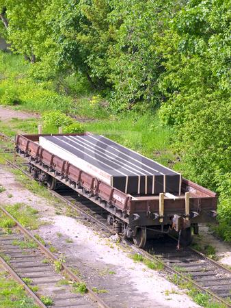 Rail car stock photo, Rail car with cargo in the dead end by Sergej Razvodovskij
