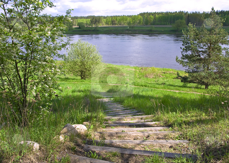 Wooden stairs to river stock photo, Wooden stairs way to river bend with wild nature landscape by Sergej Razvodovskij