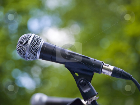 Microphone stock photo, Single microphone against the green leaves background by Sergej Razvodovskij