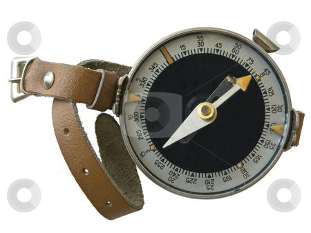Compass with hand strap stock photo, Isolated compass with the hand strap against the white background by Sergej Razvodovskij
