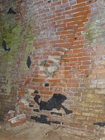 Red brick wall stock photo, Red brick wall of the castle by Sergej Razvodovskij