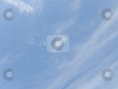 Blue sky stock photo, Blue sky with the fleecy white clouds by Sergej Razvodovskij
