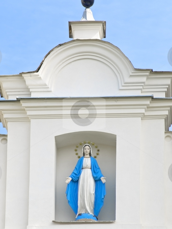 Church image stock photo, Church image on the front of a building by Sergej Razvodovskij
