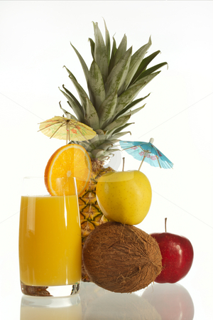 Orange juice stock photo, Fresh juice from an orange and ripe pineapple on a white background. by Sergey Goruppa