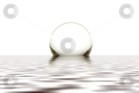 Crystal Ball stock photo, A crystal sphere rising out of calm water with a light colored background by Lynn Bendickson