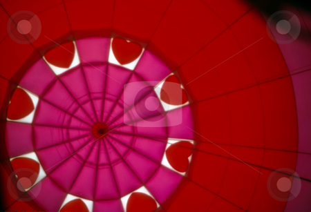 Pink Hot Air Balloon stock photo, Interior of pink hot air balloon with hearts by Thomas Marchessault