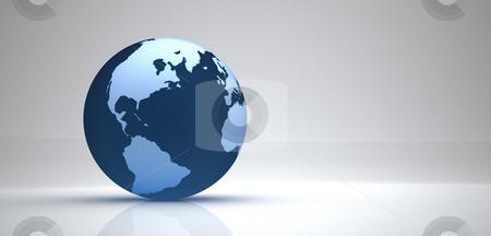 3d globe stock photo, 3d blue globe on grey background by Christophe Rolland