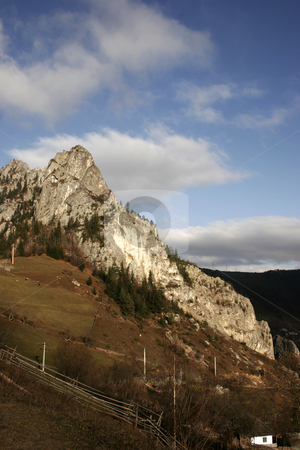 Mountain view stock photo, Mountain view with rocks and trees by Dragos Iliescu