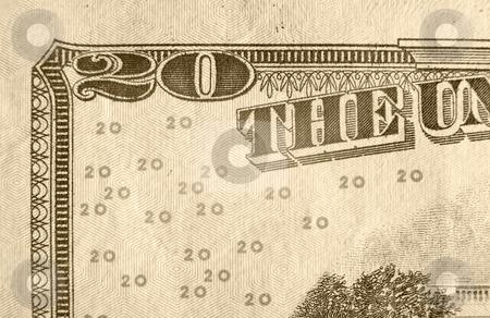 Twenty Dollar Bill stock photo, A close up on a twenty dollar bill. Shallow depth of field. by Travis Manley