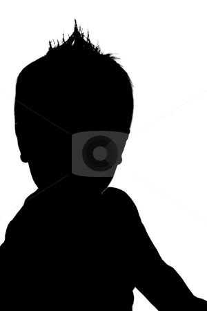 Baby Boy Silhouette stock photo, A silhouette of a cute baby boy. Illustration made from my photo. by Travis Manley