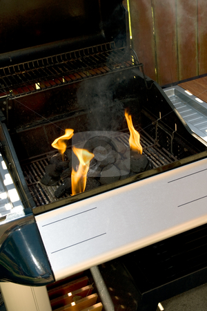 Barbecue stock photo, Chrome and blue Barbecue fire with orange flames and black charcoal by Keith Wilson