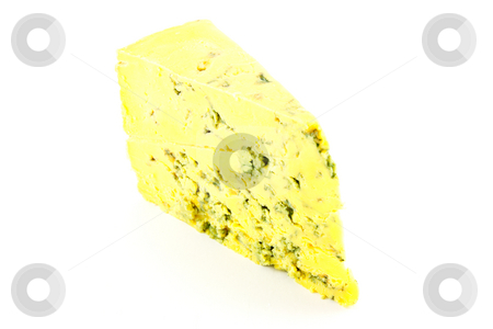 Blue Cheese stock photo, Slice of blue cheese with clipping path on a white background by Keith Wilson