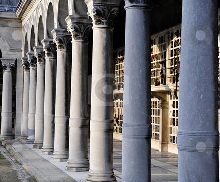 Pere Lachaise columns stock photo, Columns in Pere Lachaise cemetery by Jaime Pharr