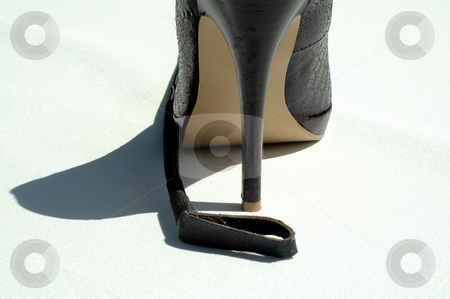 Stiletto heel with crop stock photo, High heel shoe and riding crop at side on white by Gary Nicolson