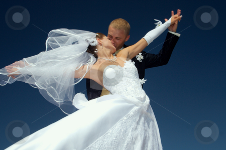 Bride and Groom Dancing stock photo, Day of wedding the most solemn and unforgettable in a life of each person by Sergey Goruppa