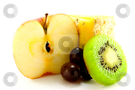 Fruit with Slice of Cheese stock photo, Apple, kiwi, grapes and a slice of cheese with clipping path on a white background by Keith Wilson