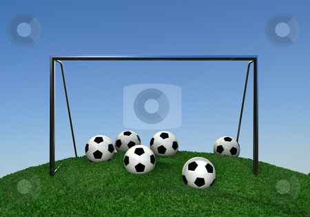 Soccer hill stock photo, Soccer goal and lots of balls on green hill by Magnus Johansson