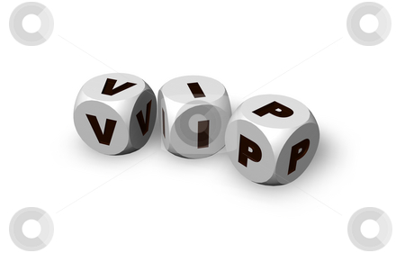 Vip stock photo, Three dices with the letters vip - 3d illustration by J?
