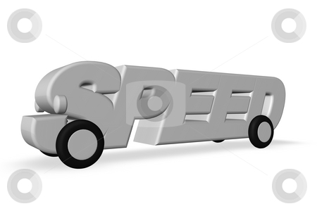Speed stock photo, The word speed on wheels on white background - 3d illustration by J?