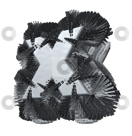 Steel stock photo, Abstract metal construction with x inside on white background - 3d illustration by J?
