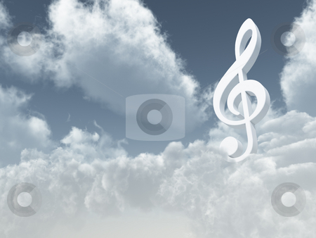 Heavenly sound stock photo, White clef in the cloudy sky - 3d illustration by J?